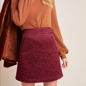 Anthropologie Beatrice maroon quilted mini skirt